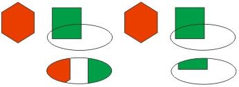 В верхнем ряду — исходное положение объектов, в нижнем— результаты построения фигурной обрезки (слева— при включенном режиме автоматического центрирования содержимого)