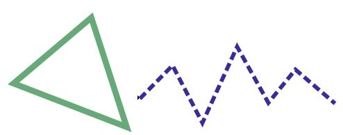Кривые. Произвольный треугольник и незамкнутая зубчатая линия.