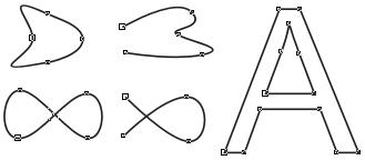 Примеры замкнутых (слева), разомкнутых (в середине) и соединенных (справа) линий