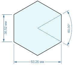 Результат простановки размеров на шестиугольном объекте