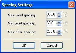 Элементы управления интервалами для простого текста во вспомогательном диалоговом окне