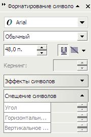 Палитра Форматирование символов