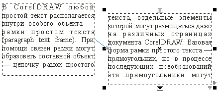 Вновь созданная рамка простого текста соединяется стрелкой со своей предшественницей в цепочке